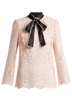 Dolce & Gabbana Lace satin neck-tie blouse