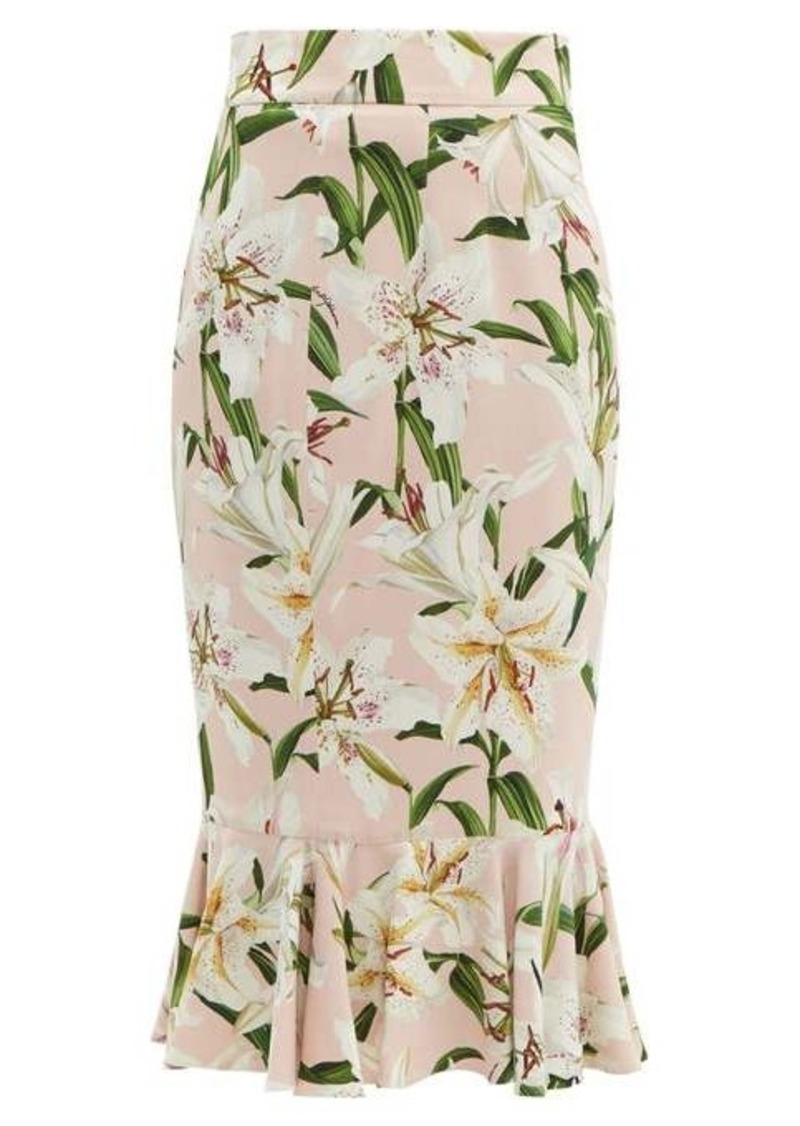 Dolce & Gabbana Lace-trimmed lily-print skirt