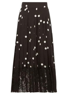 Dolce & Gabbana Lace-trimmed polka-dot pleated silk-blend skirt