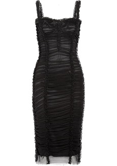 Dolce & Gabbana Lace-trimmed ruched stretch-tulle dress