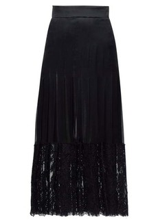 Dolce & Gabbana Lace-trimmed silk-blend midi skirt