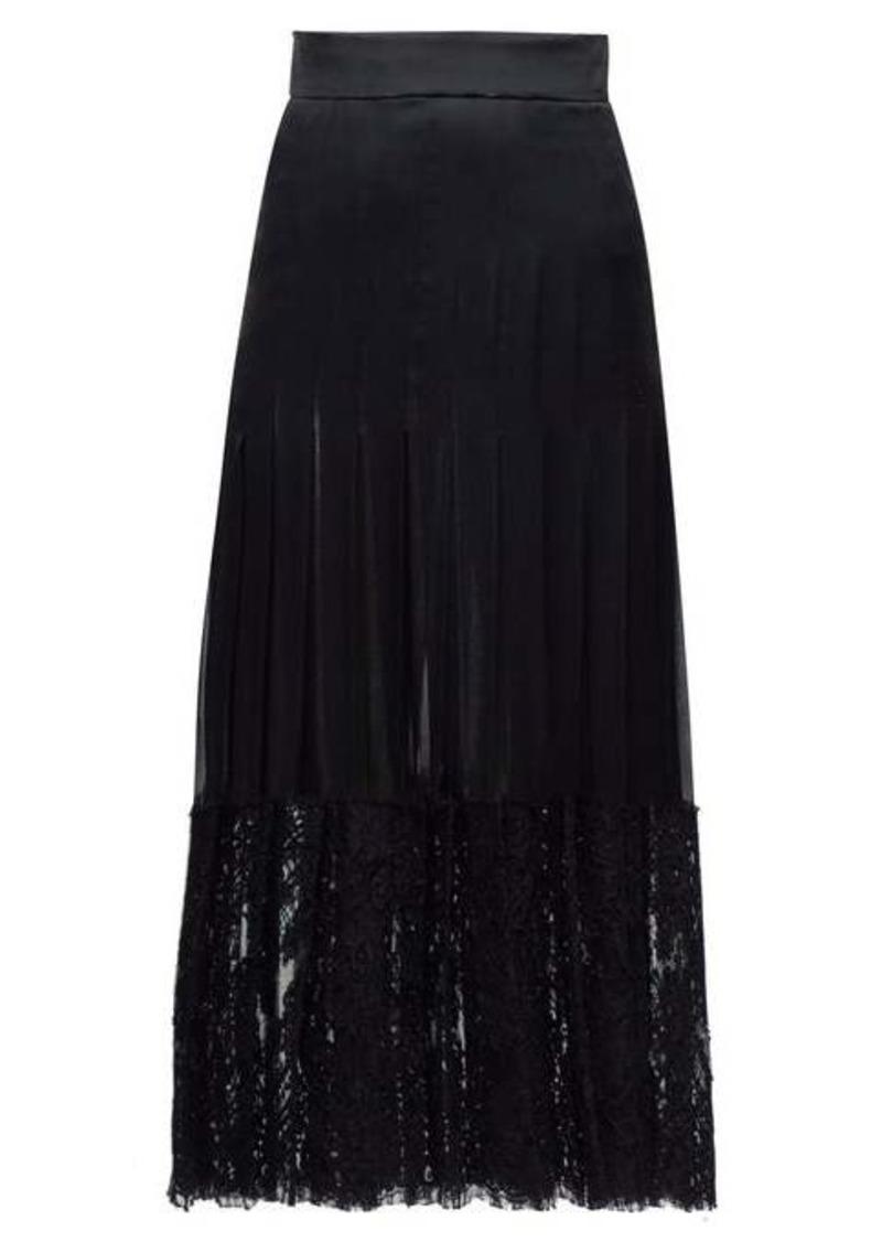 Dolce & Gabbana Lace-trimmed silk-blend midi skirt