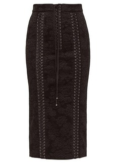 Dolce & Gabbana Lace-up floral-jacquard pencil skirt