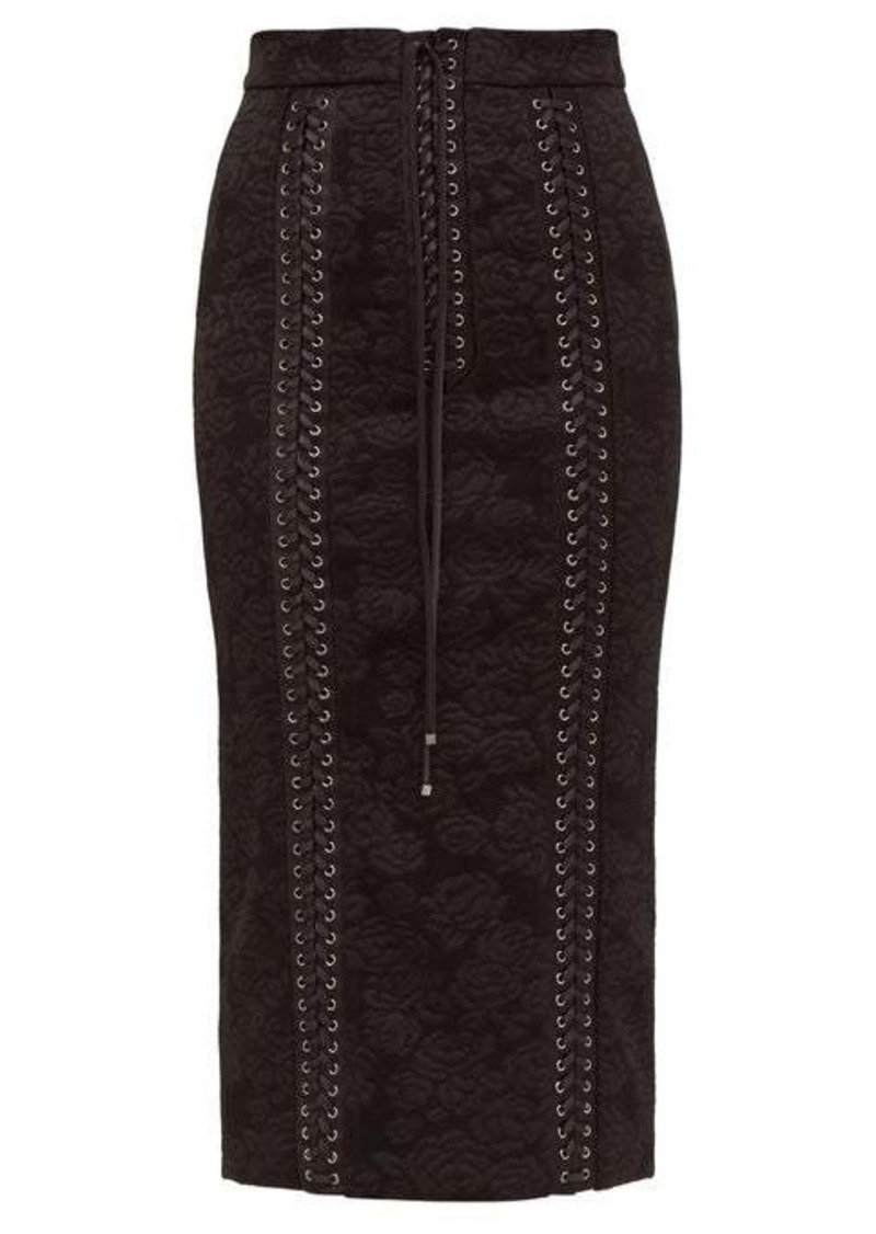 Dolce & Gabbana Lace-up floral-jacquard pencil skirt
