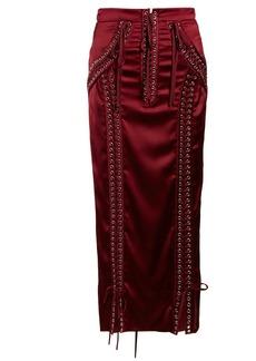 Dolce & Gabbana Lace-up satin midi skirt