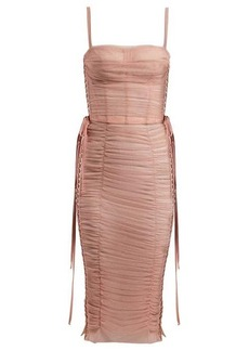 Dolce & Gabbana Laced ruched-tulle dress