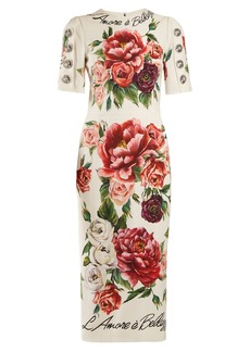 Dolce & Gabbana L'amore e Bellezza peony-print cady midi dress