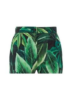 Dolce & Gabbana Leaf-print cotton-poplin shorts
