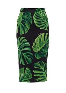 Dolce & Gabbana Leaf-print silk-charmeuse skirt