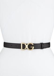 Dolce & Gabbana Leather Belt w/ Logo Buckle