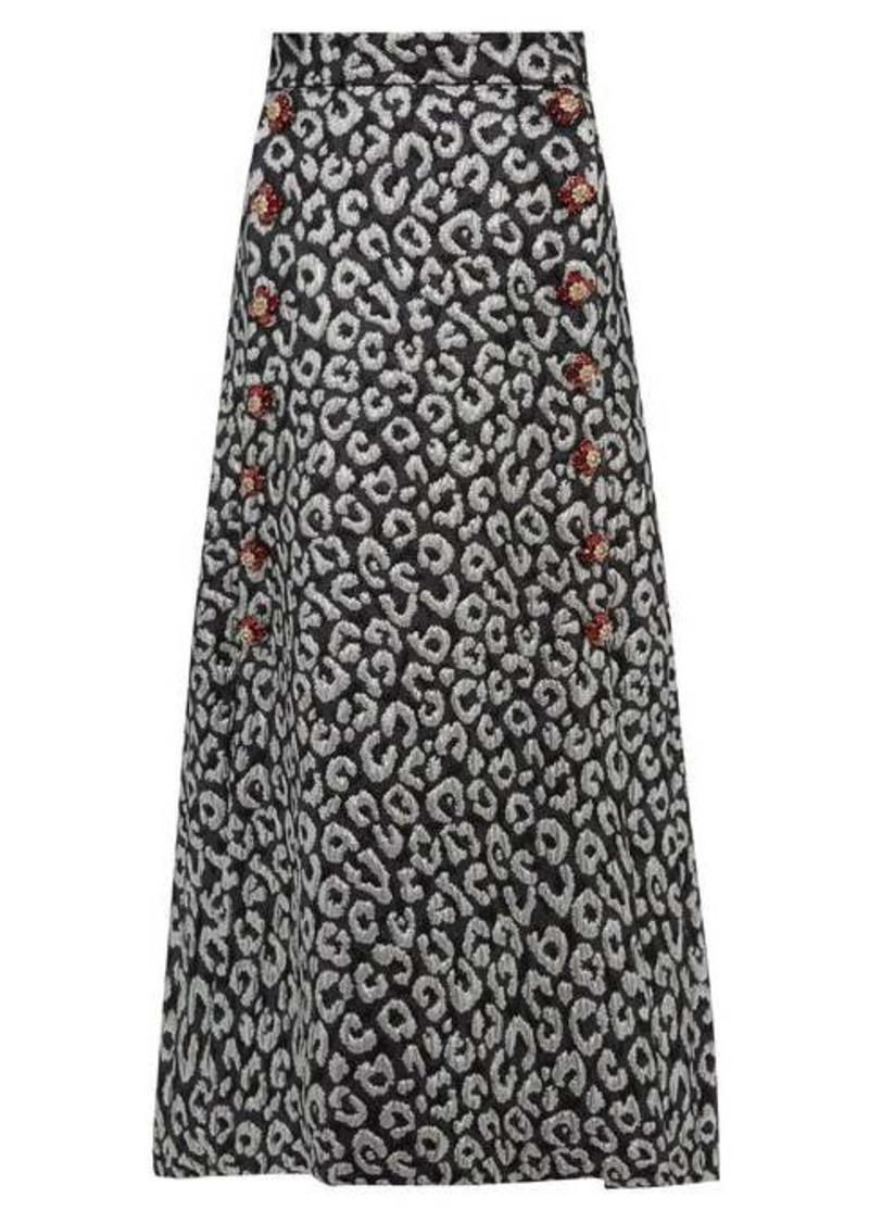 Dolce & Gabbana Leopard-brocade crystal-button midi skirt