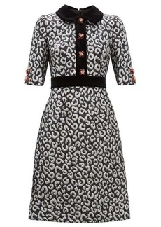 Dolce & Gabbana Leopard jacquard and velvet trim midi dress