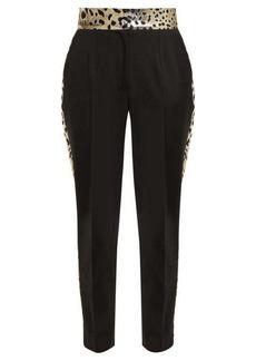 Dolce & Gabbana Leopard lamé-panelled wool-blend trousers