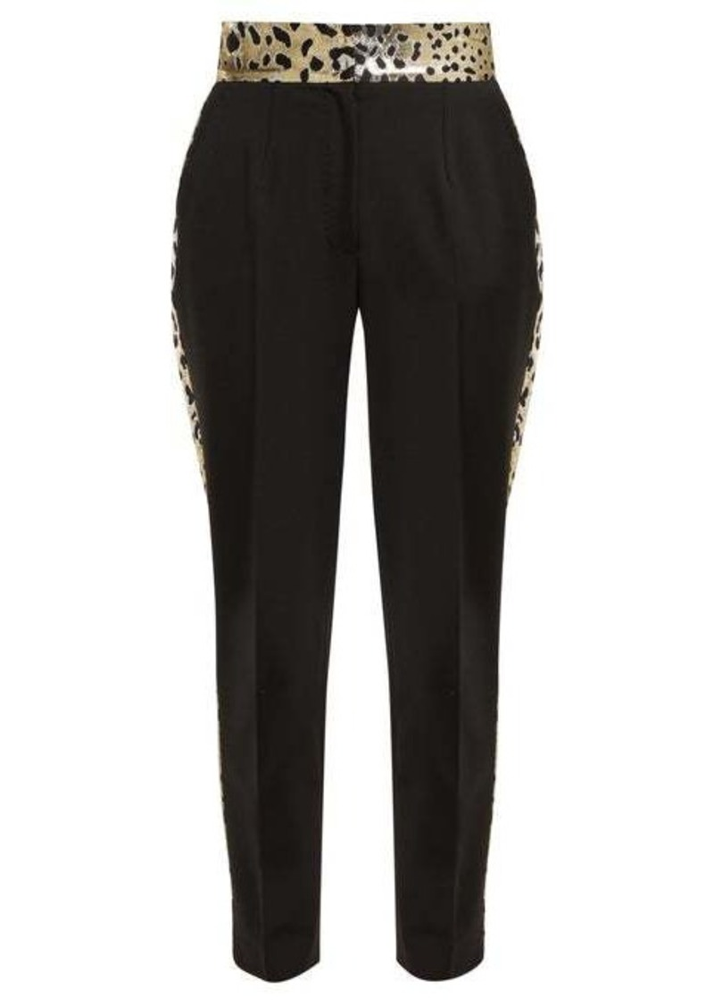 Dolce & Gabbana Leopard lamé-panelled wool-blend trousers