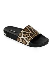 Dolce & Gabbana Leopard Logo Pool Slide Sandals
