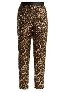 Dolce & Gabbana Leopard-pattern sequinned trousers