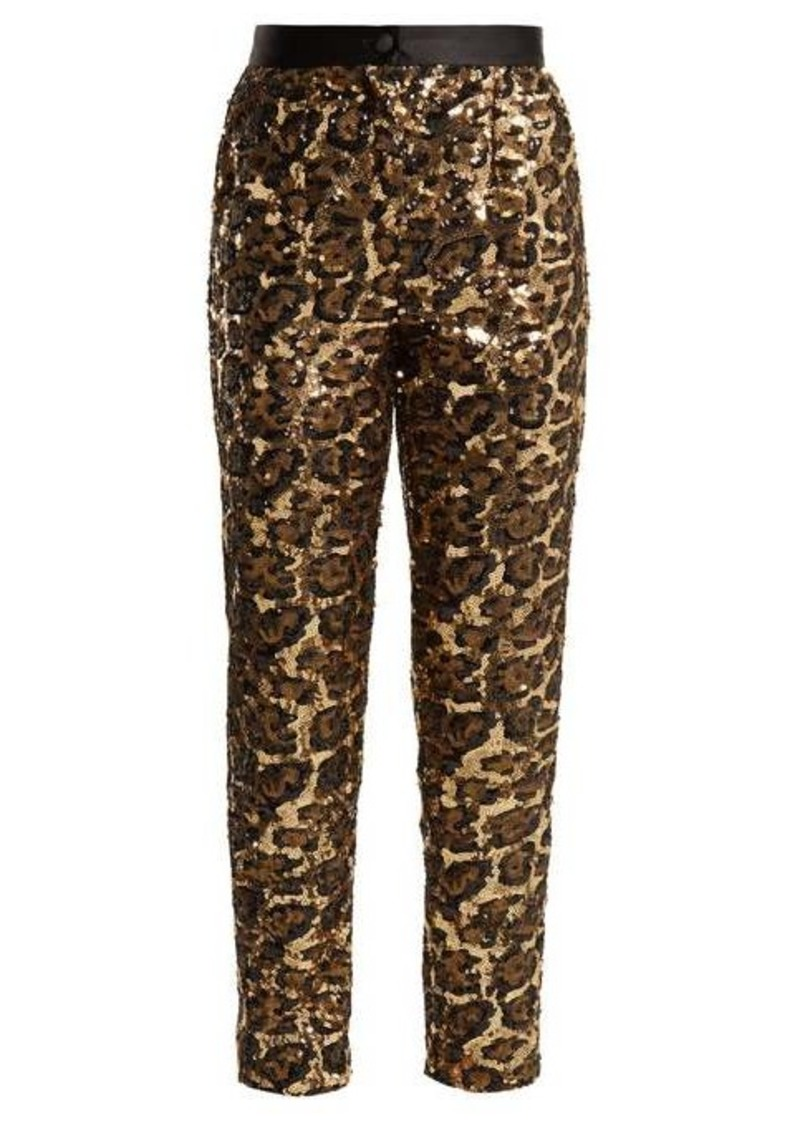 Dolce & Gabbana Leopard-pattern sequinned trousers