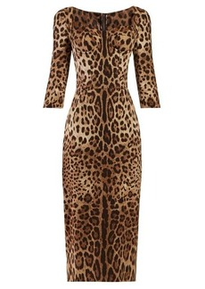 Dolce & Gabbana Leopard-print cady mini dress