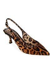 Dolce & Gabbana Leopard-Print Calf Hair Slingback Pumps