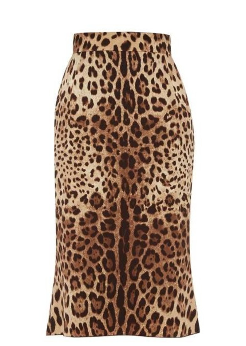 Dolce & Gabbana Leopard-print charmeuse pencil skirt