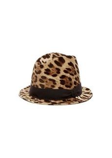Dolce & Gabbana Leopard-print cotton-blend fedora hat