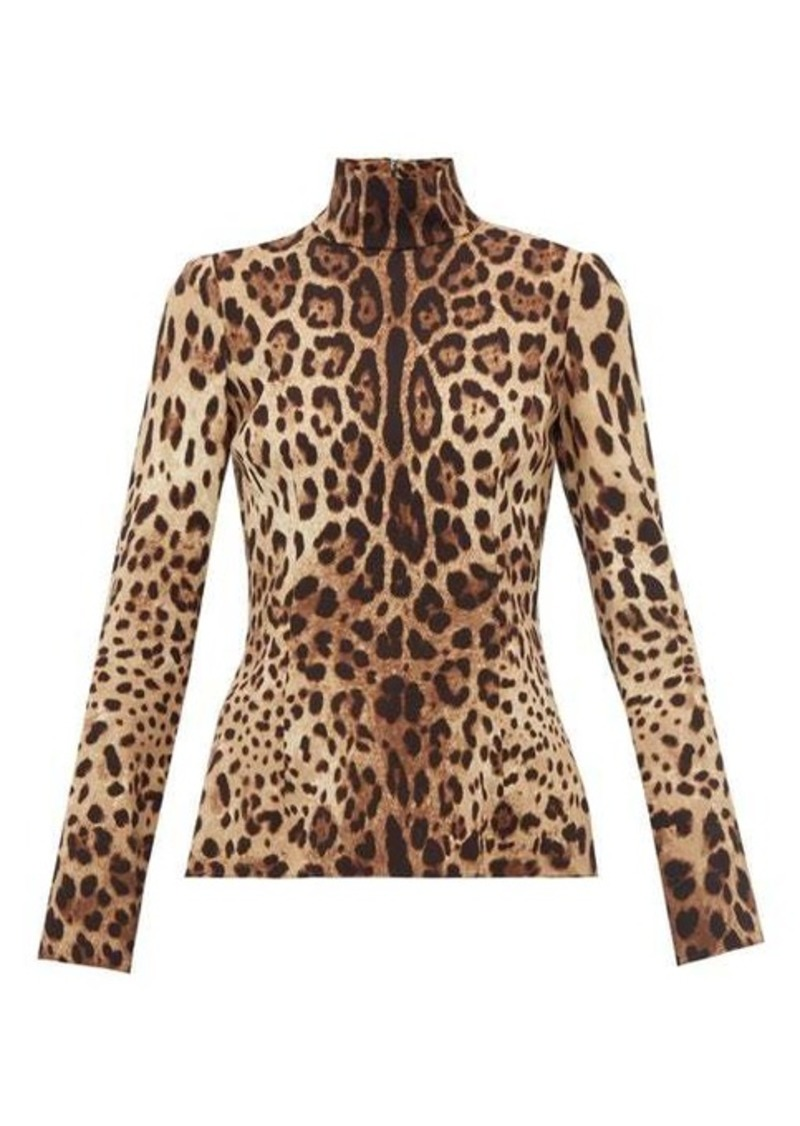 Dolce & Gabbana Leopard-print high-neck silk top