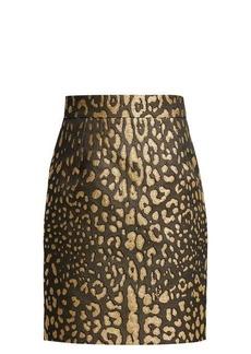 Dolce & Gabbana Leopard-print high-rise jacquard mini skirt