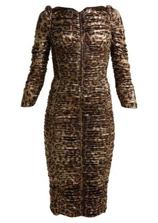 Dolce & Gabbana Leopard-print lamé ruched midi dress