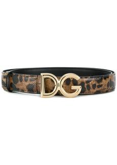 Dolce & Gabbana leopard-print logo buckle belt