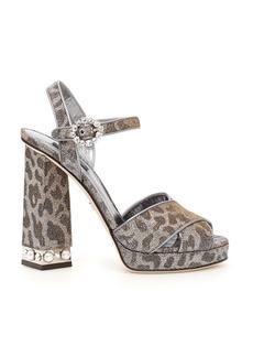 Dolce & Gabbana Leopard Print Lurex Keira Sandals