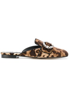 Dolce & Gabbana leopard print mules with bejewelled buckle - Brown