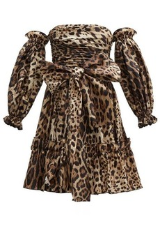 Dolce & Gabbana Leopard-print off-the-shoulder silk mini dress