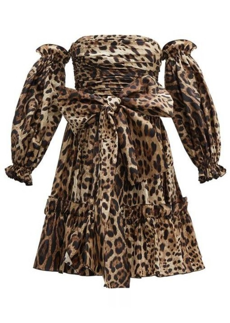 Dolce & Gabbana Leopard-print off-the-shoulder silk mini dress