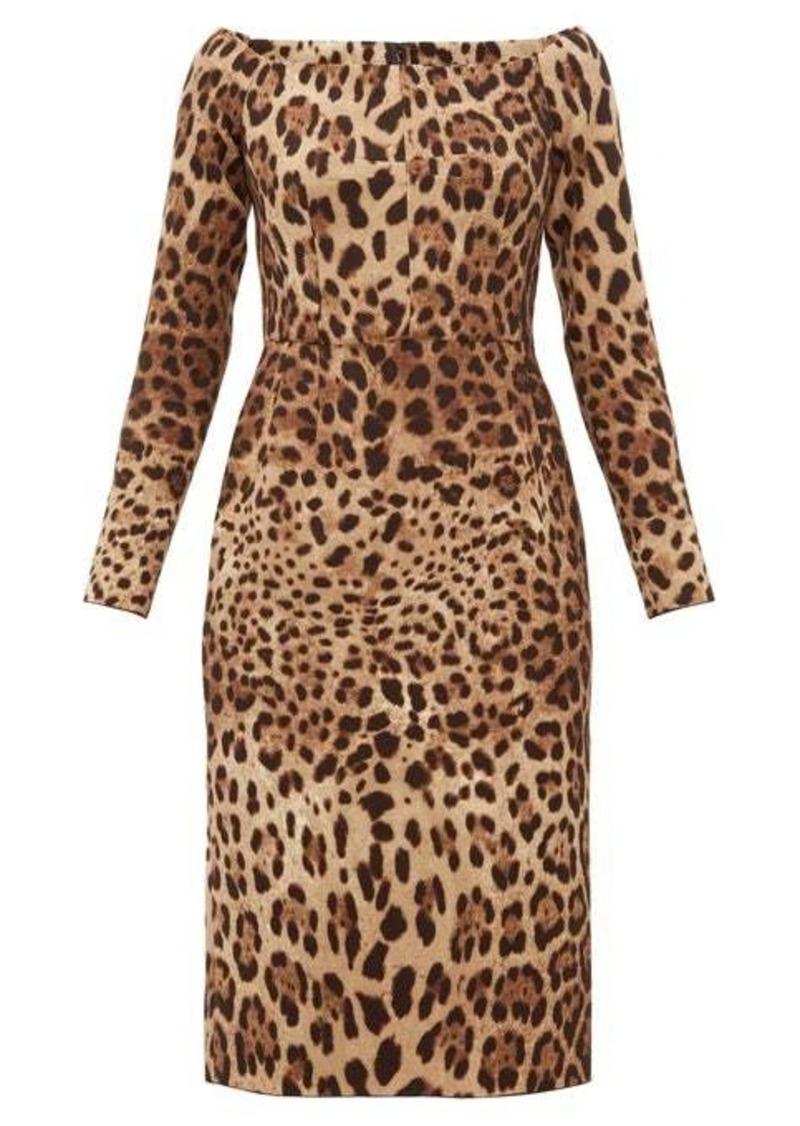 Dolce & Gabbana Leopard-print off-the-shoulder wool-crepe dress
