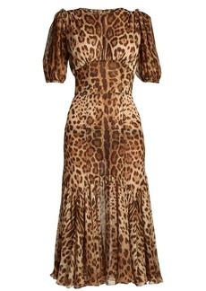 Dolce & Gabbana Leopard-print puff-sleeve stretch-silk dress