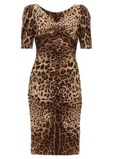 Dolce & Gabbana Leopard-print ruched silk-blend midi dress