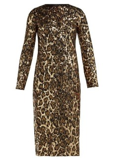 Dolce & Gabbana Leopard-print sequinned midi dress