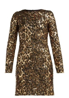 Dolce & Gabbana Leopard-print sequinned mini dress