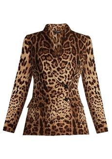 Dolce & Gabbana Leopard-print shawl-lapel silk-blend cady blazer