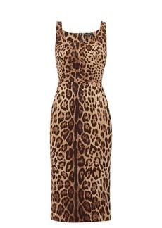 Dolce & Gabbana Leopard-print silk-blend crepe midi dress