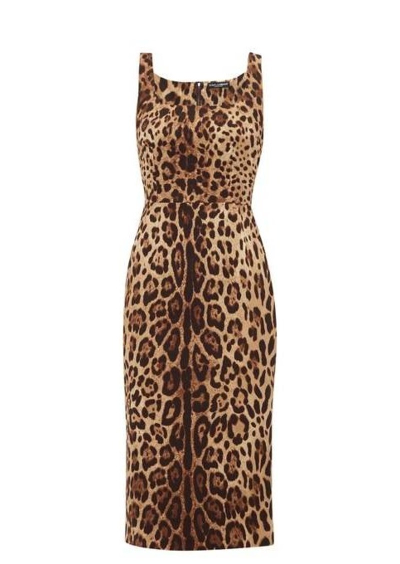 Dolce & Gabbana Leopard-print silk-blend crepe midi dress