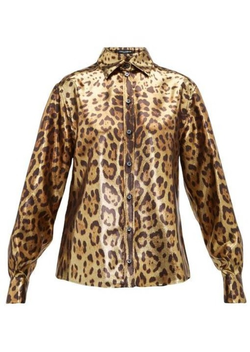 Dolce & Gabbana Leopard-print silk-blend lamé shirt