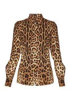 Dolce & Gabbana Leopard-print silk charmeuse blouse