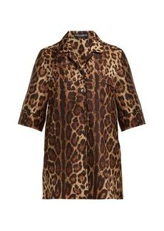 Dolce & Gabbana Leopard-print silk-twill pyjama top