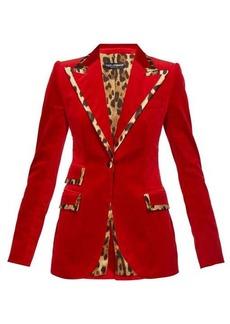 Dolce & Gabbana Leopard-print trim single-breasted velvet blazer