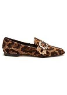 Dolce & Gabbana Leopard-print velvet loafers