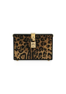 Dolce & Gabbana Leopard-Print Wood Box Clutch Bag