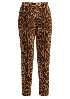 Dolce & Gabbana Leopard-print wool-blend cuffed trousers
