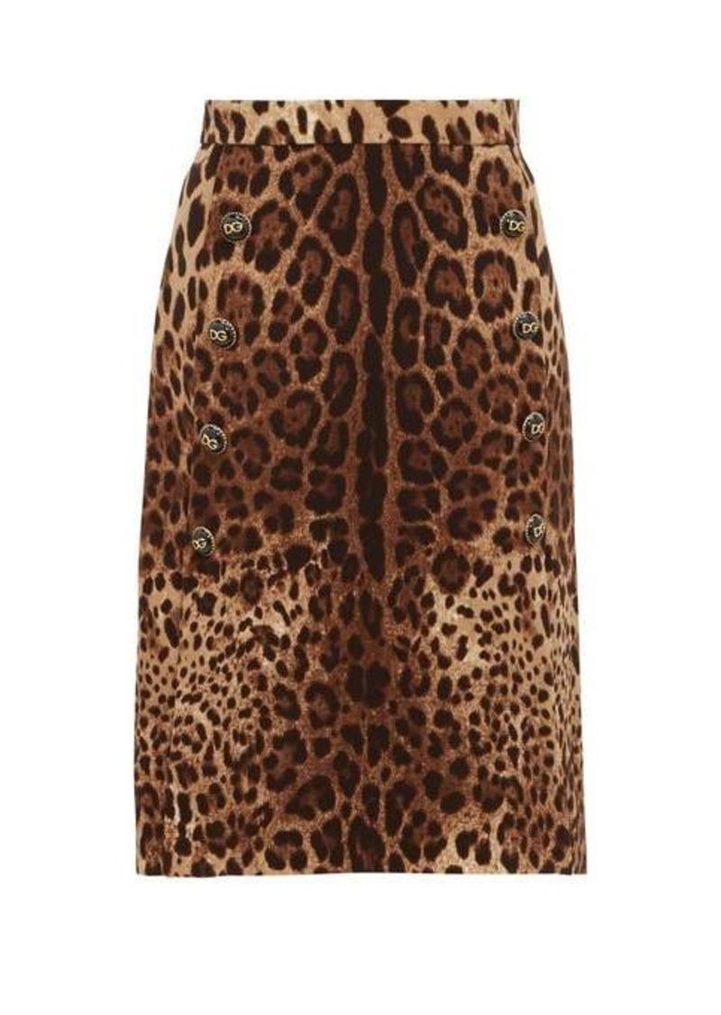Dolce & Gabbana Leopard-print wool-crepe midi skirt