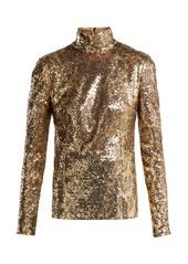 Dolce & Gabbana Leopard-sequined high-neck top